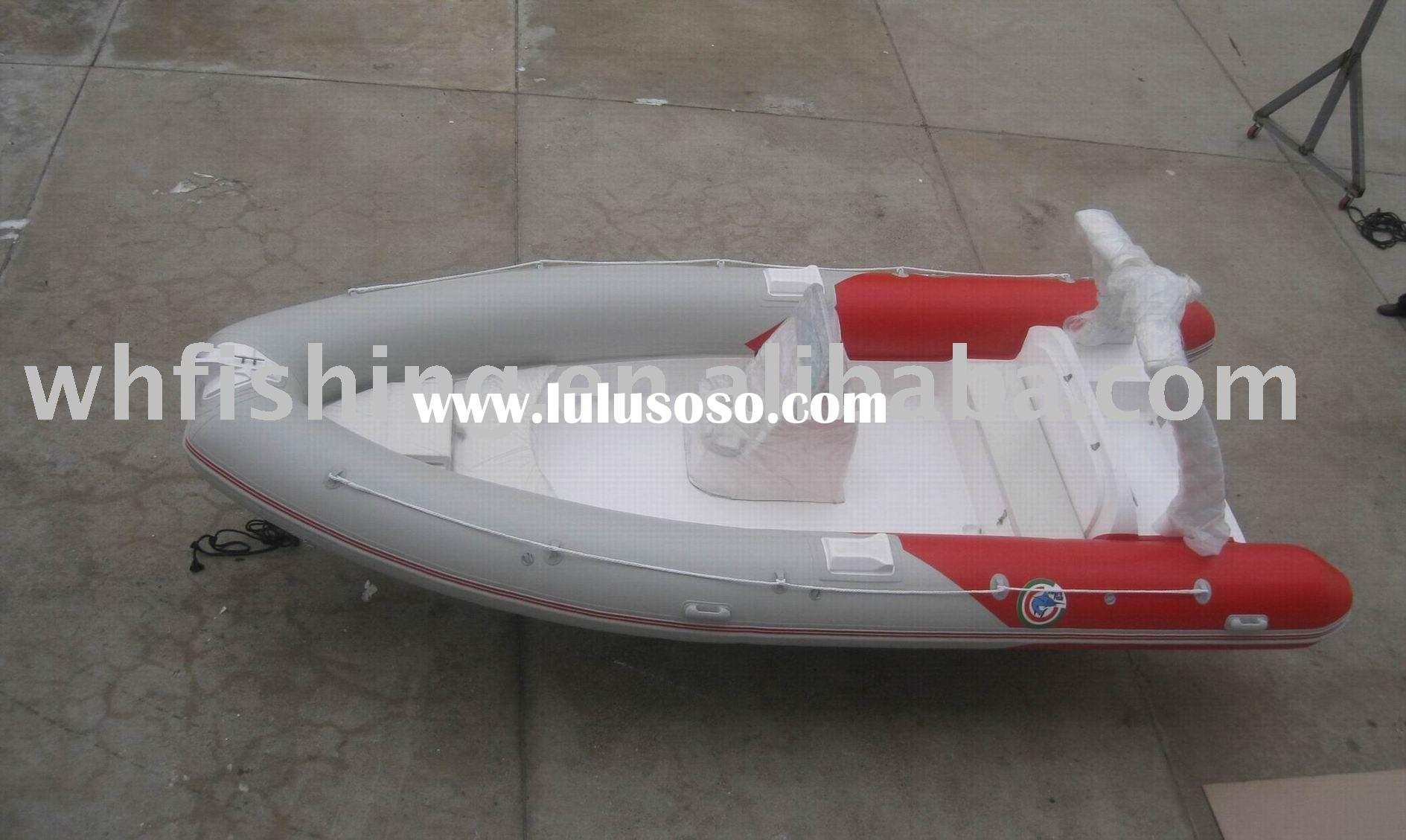 RIB inflatable boats with PVC tube and fibergalss hull for fishing and sports