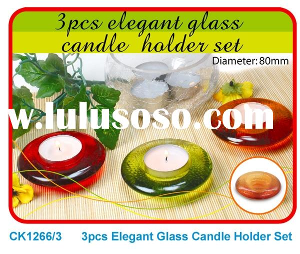 Set of 3 Glass Candle Holder (Circular Dish Shape)
