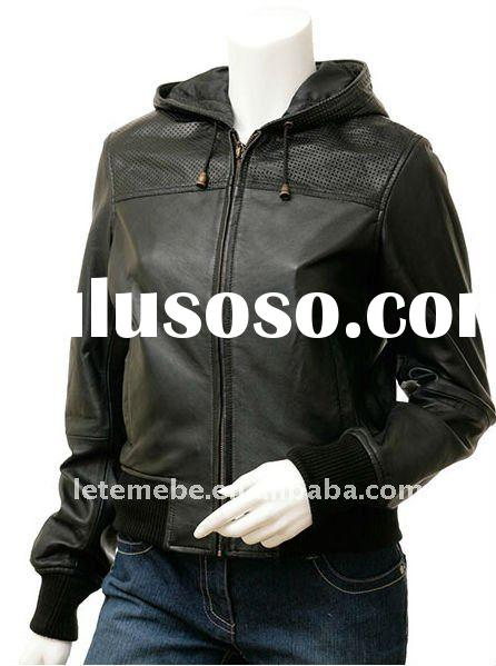 Women's Casual leather Jackets with Hood