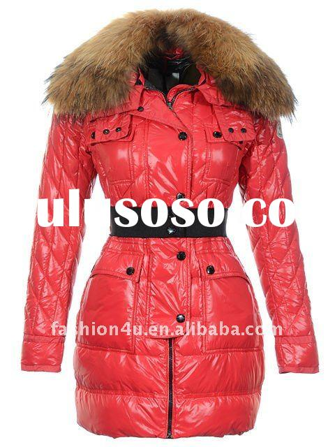 Womens hot selling red long jackets with fur collar