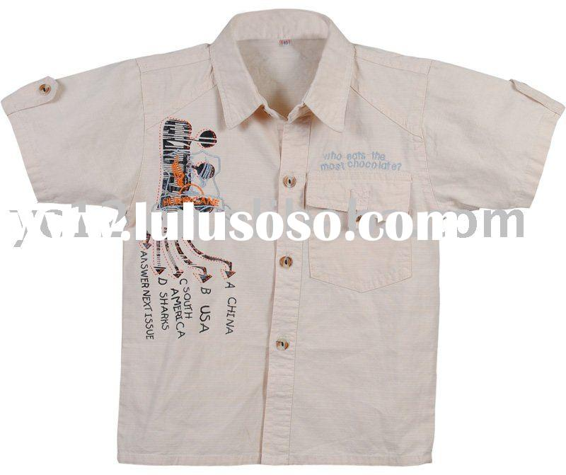 Worsted Printed Woven Cotton Short Sleeve Boys Shirt