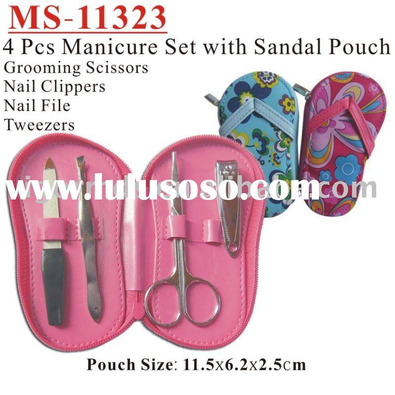(MS-11323) Manicure Set / Pedicure Set / Nail Care Tools 4 pcs set Sandal PVC Zipper Pouch