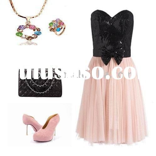 cute pink dress short with bow tie