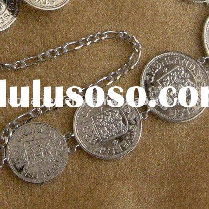 high quality silver coin jewelry necklace