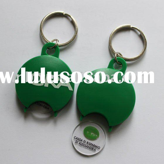 plastic euro coin holder keychain