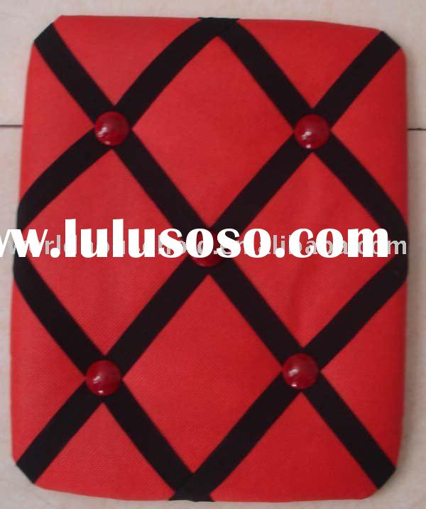 red fabric memo board