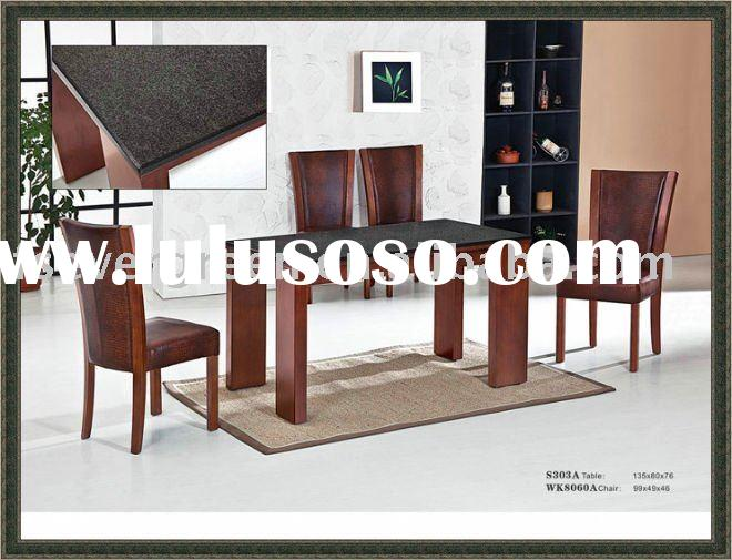 solid wood dining table with marble inlay ES303A and chair EWK8060A