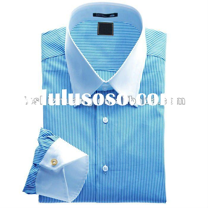 white banded collar and cuff mens stripes pattern blue and white dress shirts