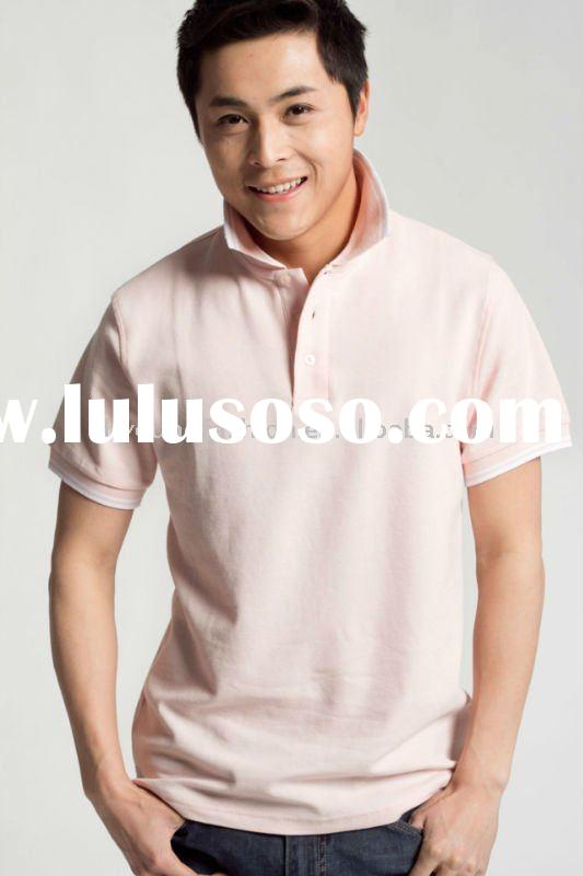 wholesale men's cotton &bamboo fiber pique solid color sport casual short sleeve polo sh