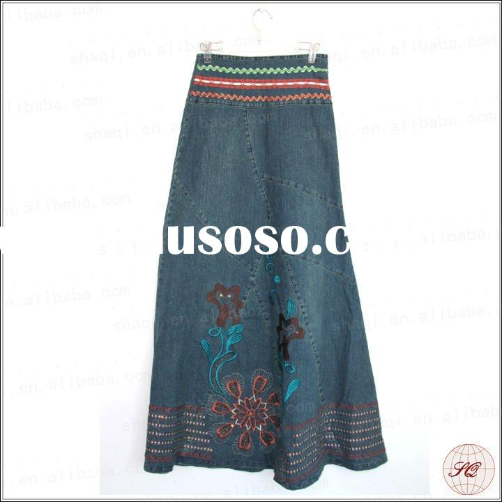 2012 New Arrival fashion long jean skirts with embroidered flower