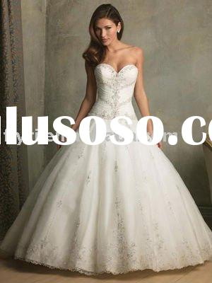 Ball Gown Sweetheart Neckline Chapel Train Satin Beading Wedding Dress for brides