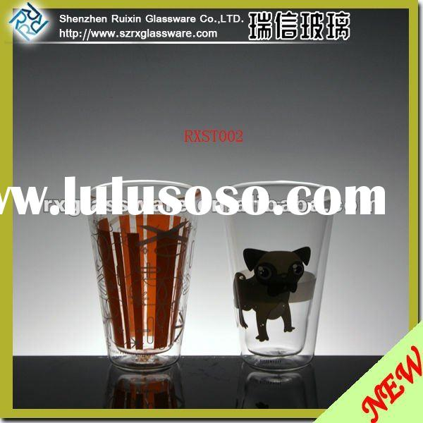 Double Wall Glass Cup In Borosilicate Glass Cup Material with Decal Logo