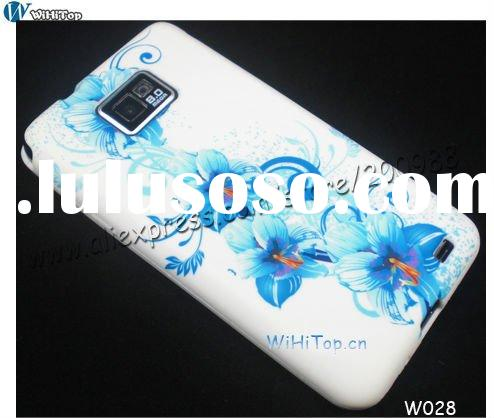 Flower Case for Galaxy S2 . Color Floral printed Case for Samsung i9100.TPU GEL CASE with color impr