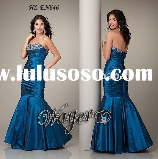 Mermaid Brilliant Beaded Blue Evening Gown HL-EN646