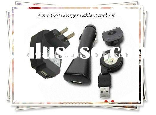 OEM 3 in 1 USB Charger Cable Travel Kit for iPhone (black)