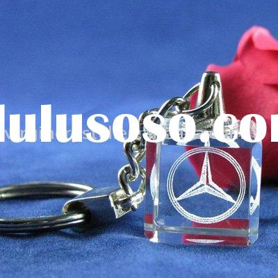 Optical Crystal Cube Benz Engraved Promotion Key Chain