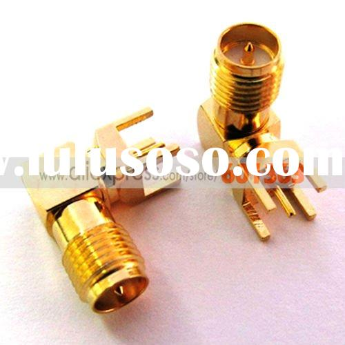 RP SMA female PCB mount right angle connector