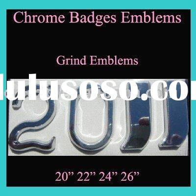 chrome emblem, auto badge, car sticker