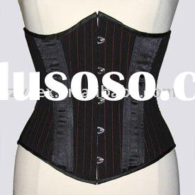 corset,underbust,black & red stripe satin