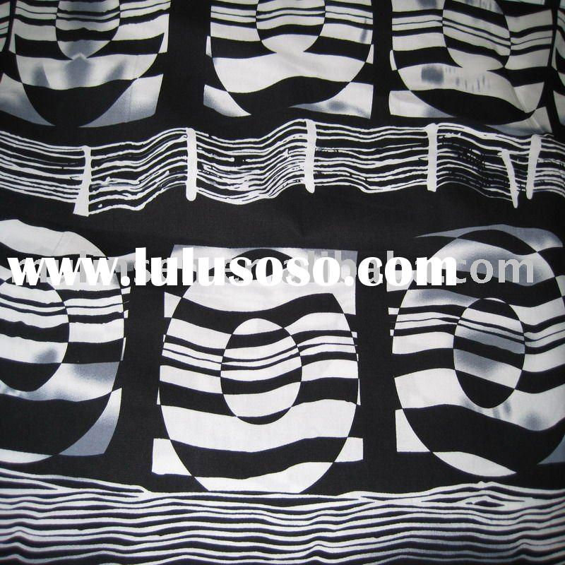 cotton poplin printed fabric/ black and white
