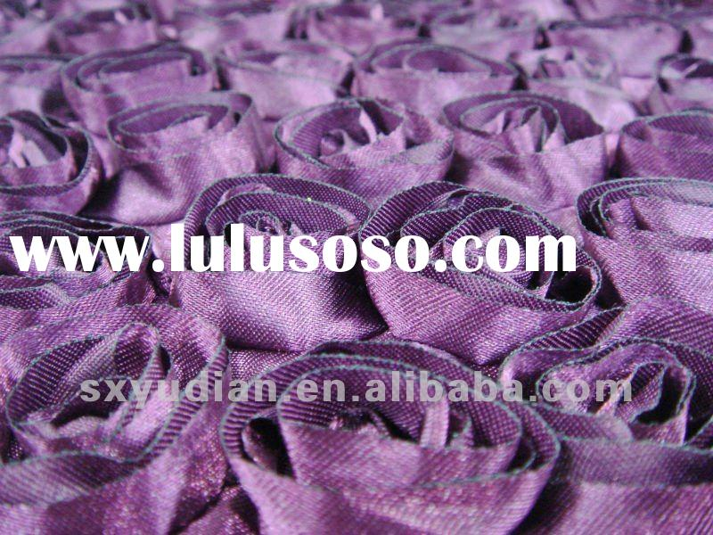 satin rose ribbon embroidery/embroidered fabric