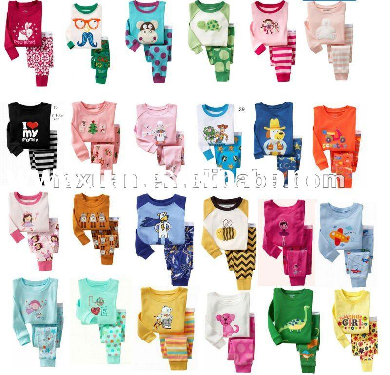 100% Cotton Long Sleeve Children Clothes baby pajama