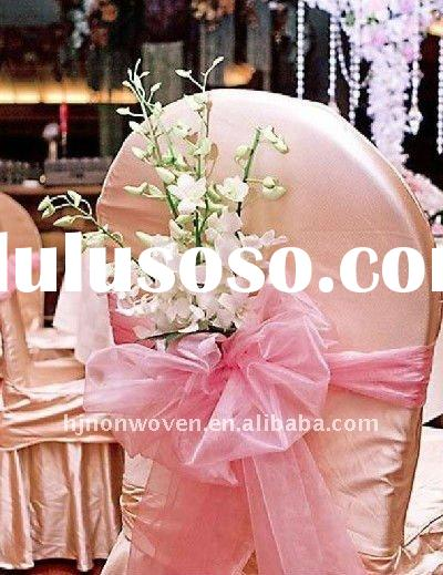 100% Nylon snow organza chair bow/bow-tie for party decoration and wedding decoration