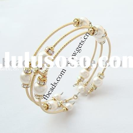 14k gold plated brass bracelet,with pearl spacer bead
