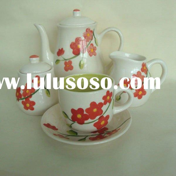 17pcs ceramic handpainted coffee and tea set cup and suacer set