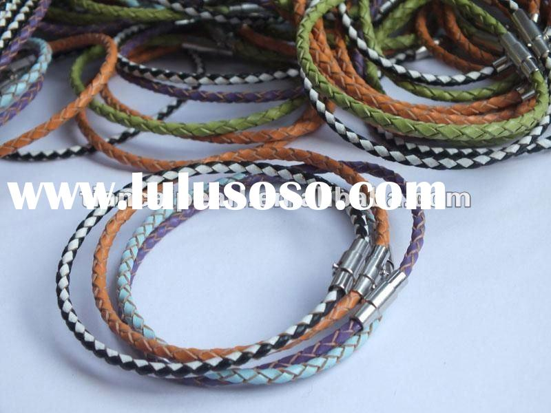 19-22cm (can make customer size and design also ), 3mm Braided Leather bracelet for charm jewelry