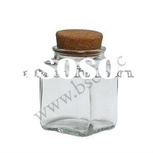 200ml square shape glass food storage jar with cork