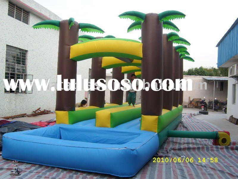 2010 TOP inflatable slide,inflatable slip slide with pool