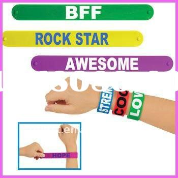 2011 Fashion slap bracelet band with Custom logo printed