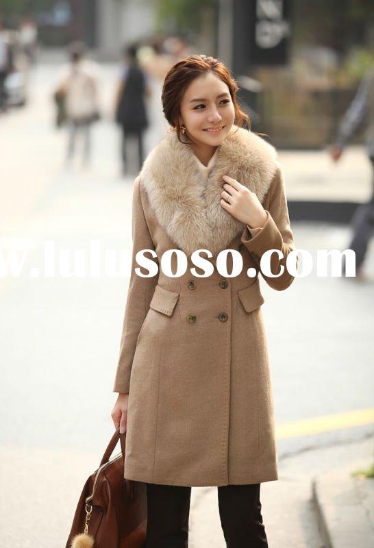 2011 Korea style ladies double-breasted garment with fox collar wool winter coat
