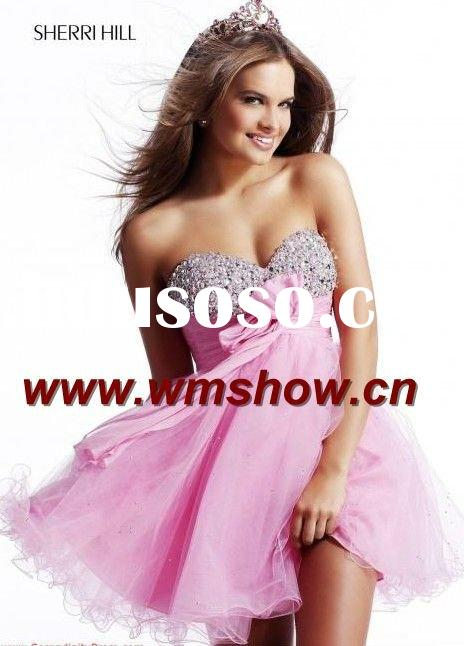 2011 Latest Modern Sweetheart Beaded Pink Juniors Party Dresses
