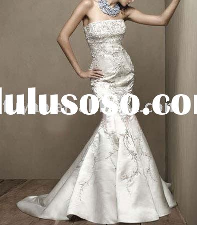 2011 New graceful embroidered strapless bridal gowns