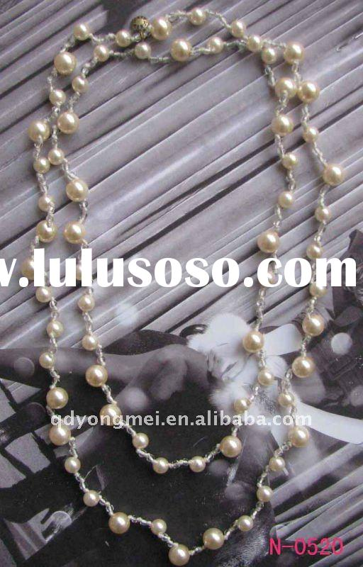 2011 hot sell fashion costume long imitation cream pearl jewelry necklace
