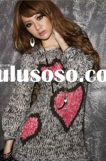 2011 lady's new and hot grey and pink hot sale winter love sweater