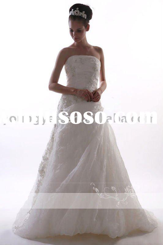 2011 new style pure white Romantic Off Shoulder Lace Top Wedding Dress