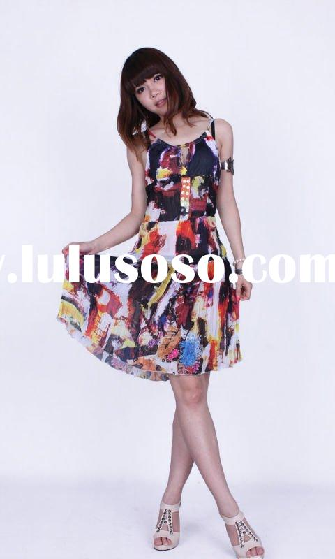 2011 women casual print dress/ladies fashion print dress/summer women dress
