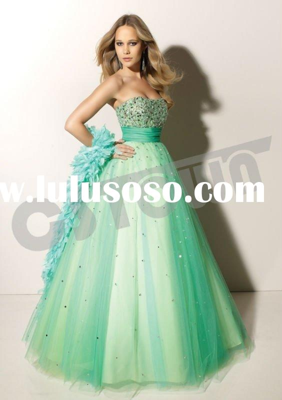 2012 Ball Gown Strapless Floor Length Green Net Bridesmaid Dress