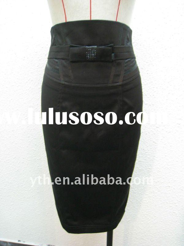 2012 Fashion Ladies' Cotton Satin High Waist Wrap Pencil Skirt