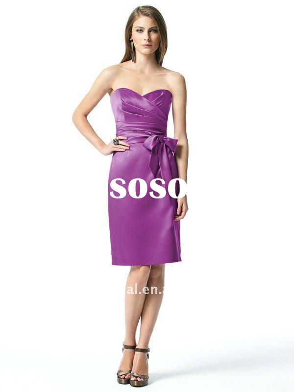 2012 Strapless sweetheart handmade sheath satin knee-length bridesmaid dress with draped bodice and