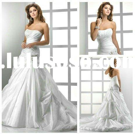 2012 White Taffeta Wedding Gowns Bridal Custom Ball Gown
