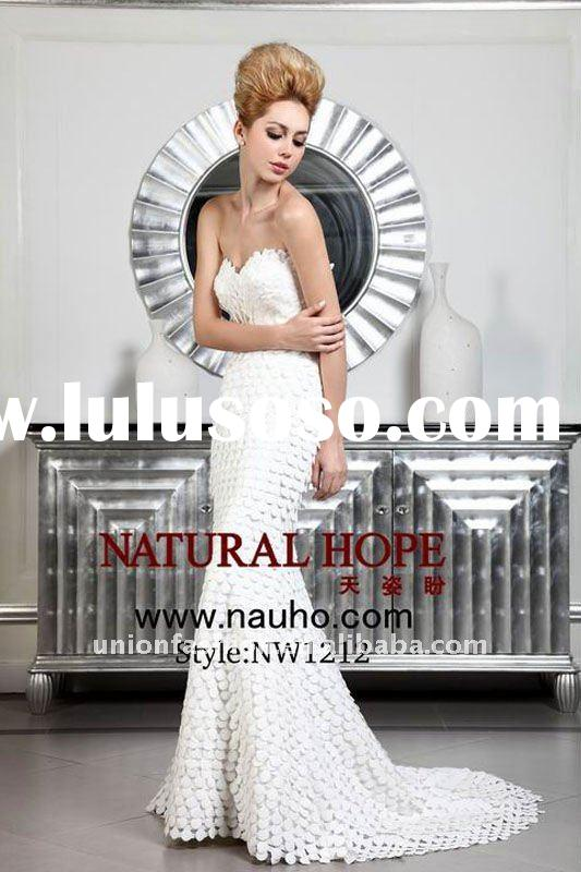 2012 new arrival Wedding dress in scales cloth and shaped by the exquisite beads at the waist,mermai