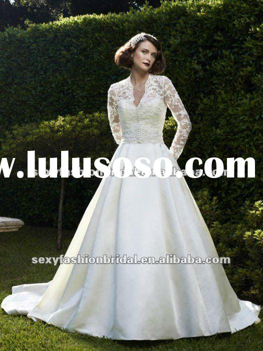 2012 new arrival long sleeves lace overlay bodice a line long sleeve wedding gowns
