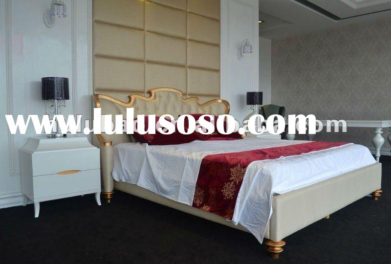 2012 new design hot selling high quality popular classical solid wood king size leather bed