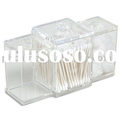 3-Canister Clear Acrylic Box,Acrylic Cotton Ball/Swab Holder