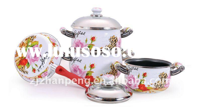6PCS combination lid porcelain enamel cookware sets