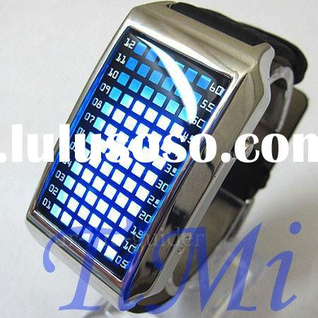 72 Blue LED watchs Light Fashion watchs Dot Matrix Mens watchs Leather WATCH